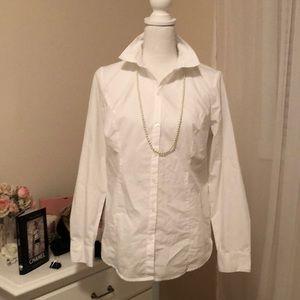 White Worthington Button-down Blouse 10